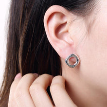 Load image into Gallery viewer, Simple and Fashion Hollow Geometric Round Stud Earrings