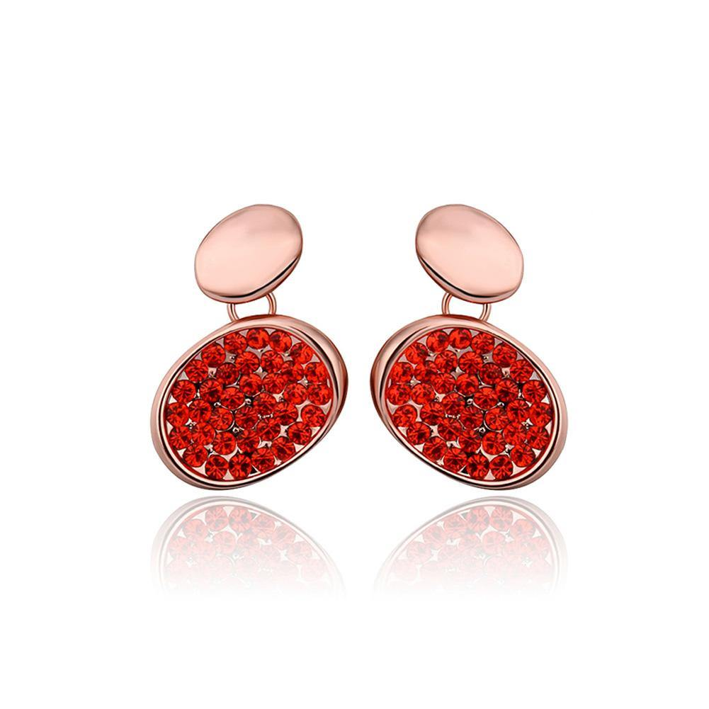 Fashion Brilliant Plated Rose Gold Geometric Oval Red Cubic Zirconia Stud Earrings