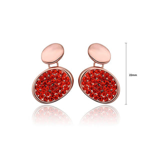 Fashion Brilliant Plated Rose Gold Geometric Oval Red Cubic Zirconia Stud Earrings - Glamorousky