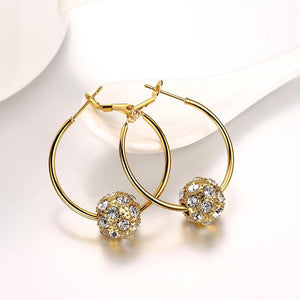 Fashion Elegant Plated Gold Geometric Round Cubic Zircon Earrings