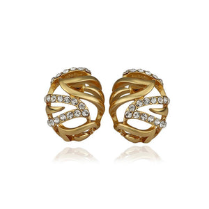 Fashion Simple Plated Gold Geometric Hollow Oval Cubic Zirconia Stud Earrings - Glamorousky