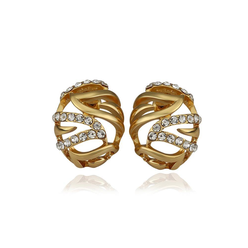 Fashion Simple Plated Gold Geometric Hollow Oval Cubic Zirconia Stud Earrings