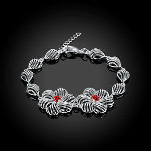 Fashion Elegant Hollow Flower Red Cubic Zircon Bracelet