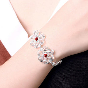 Fashion Elegant Hollow Flower Red Cubic Zircon Bracelet - Glamorousky