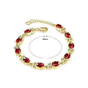 Classic Fashion Plated Gold Geometric Oval Red Cubic Zircon Bracelet