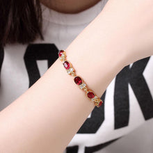 Load image into Gallery viewer, Classic Fashion Plated Gold Geometric Oval Red Cubic Zircon Bracelet