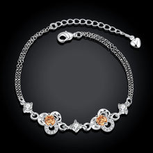 Load image into Gallery viewer, Simple and Fashion Three-leafed Clover Champagne Cubic Zircon Bracelet - Glamorousky