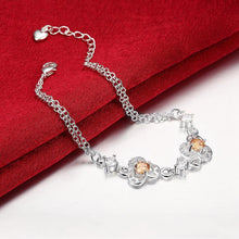 Load image into Gallery viewer, Simple and Fashion Three-leafed Clover Champagne Cubic Zircon Bracelet