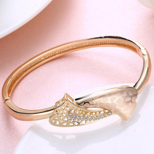 Fashion Elegant Plated Champagne Gold Geometric Cubic Zircon Bangle