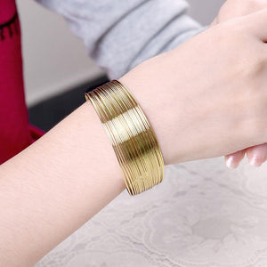 Fashion Exaggerated Plated Gold Plated Wide Edition Open Bangle