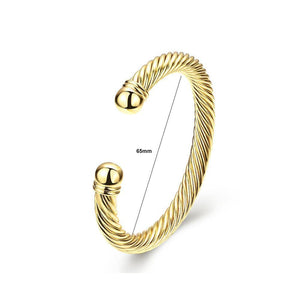 Fashion Pop Plated Gold Geometric Textured Bangle