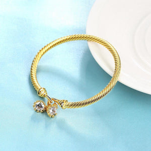 Fashion Simple Plated Gold Geometric Texture Cubic Zircon Bangle