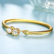 Load image into Gallery viewer, Fashion Simple Plated Gold Geometric Texture Cubic Zircon Bangle