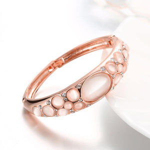 Fashion and Elegant Plated Rose Gold Geometric Bangle with Cubic Zircon and Chrysoberyl Cat Eye Opal