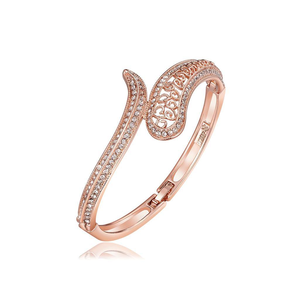 Fashion Elegant Plated Rose Gold Hollow Pattern Cubic Zircon Bangle