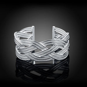 Fashion Generous Geometric Woven Open Bangle