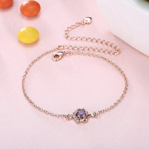 Simple and Fashion Plated Rose Gold Geometric Purple Cubic Zircon Anklet - Glamorousky