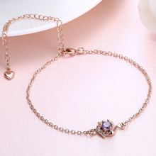 Load image into Gallery viewer, Simple and Fashion Plated Rose Gold Geometric Purple Cubic Zircon Anklet - Glamorousky