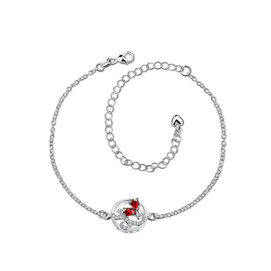 Classic Elegant Hollow Carved Red Cubic Zircon Anklet - Glamorousky