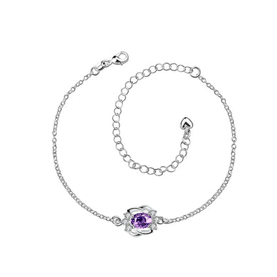 Simple and Fashion Geometric Purple Cubic Zircon Anklet