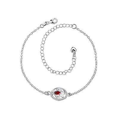 Fashion Elegant Geometric Hollow Pattern Red Cubic Zircon Anklet