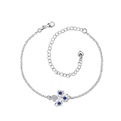 Fashion Lucky Four-leafed Clover Blue Cubic Zircon Anklet