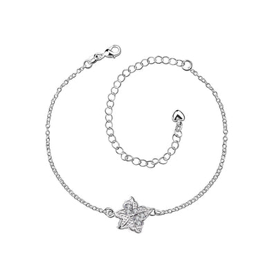 Fashion Simple Star White Cubic Zircon Anklet