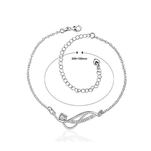 Simple and Fashion Geometric White Cubic Zircon Anklet