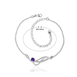 Simple and Fashion Geometric Blue Cubic Zircon Anklet