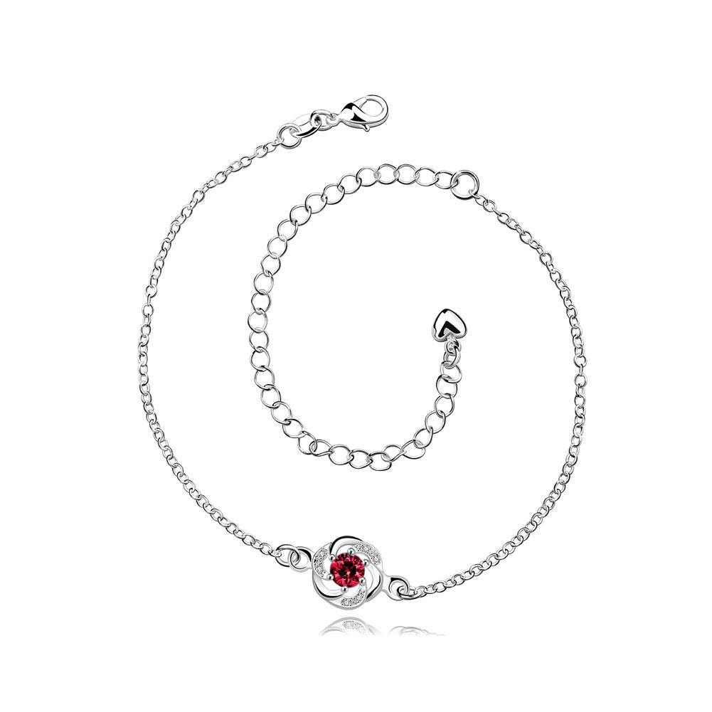 Elegant Simply Flower Red Cubic Zircon Anklet
