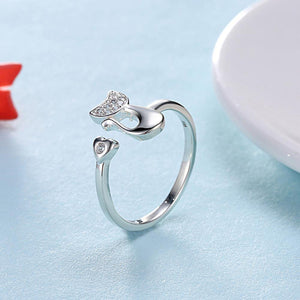 Fashion Romantic Heart-shaped Cat Cubic Zircon Adjustable Ring