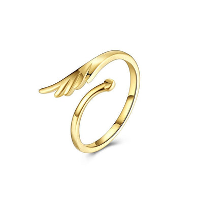 Simple and Fashion Plated Gold Wings Adjustable Ring - Glamorousky
