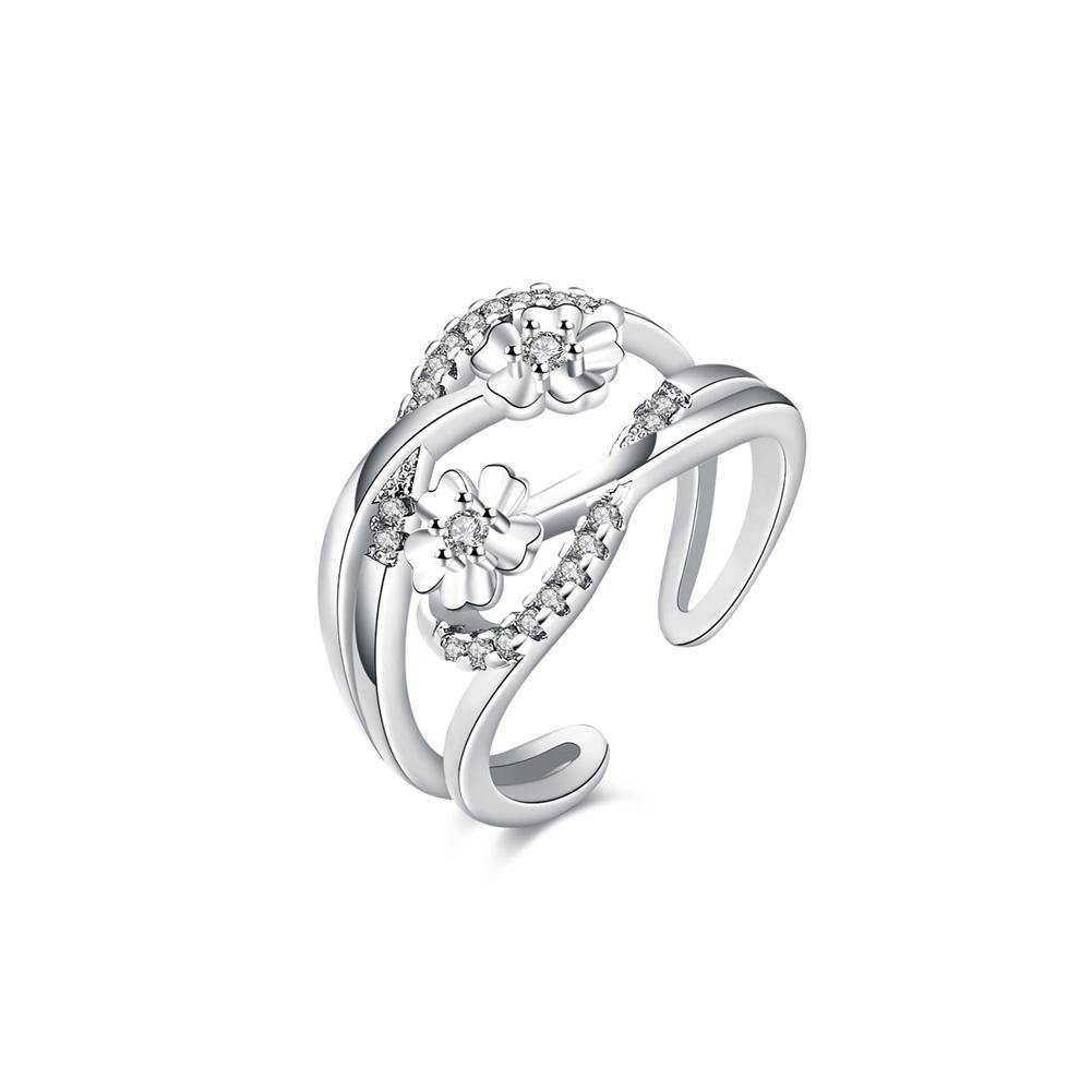 Elegant Fashion Double Line Flower Cubic Zircon Opening Adjustable Ring