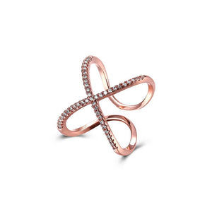Fashion Creative Plated Rose Gold Butterfly Cubic Zircon Adjustable Open Ring - Glamorousky