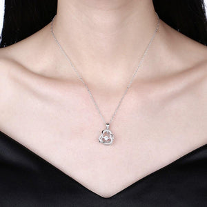 925 Sterling Silver Fashion Romantic Heart Pendant with Cubic Zircon and Necklace