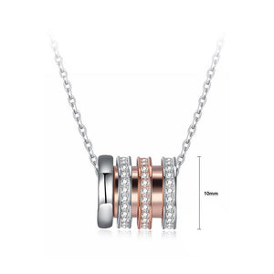 925 Sterling Silver Plated Rose Gold Simple Geometric Cylindrical Cubic Zircon Pendant with Necklace - Glamorousky