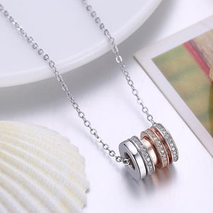 925 Sterling Silver Plated Rose Gold Simple Geometric Cylindrical Cubic Zircon Pendant with Necklace