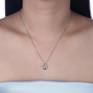 925 Sterling Silver Simple and Fashion Water Drop Shaped Starfish Pendant with Cubic Zircon and Necklace