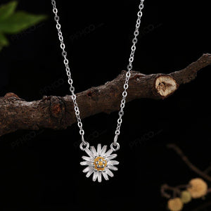 925 Sterling Silver Fashion Elegant Chrysanthemum Pendant with Necklace