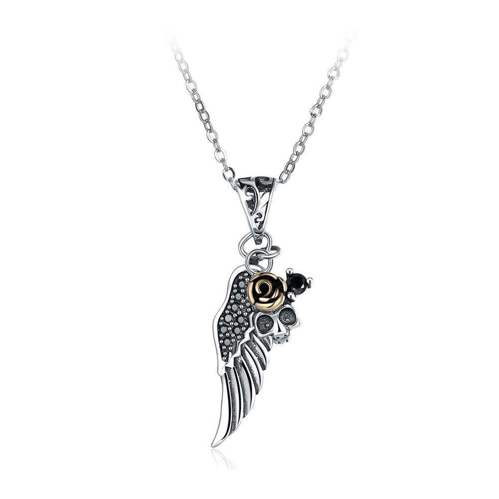 925 Sterling Silver Vintage Wings Skull Rose Pendant with Black Cubic Zircon and Necklace