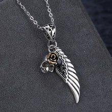 Load image into Gallery viewer, 925 Sterling Silver Vintage Wings Skull Rose Pendant with Black Cubic Zircon and Necklace