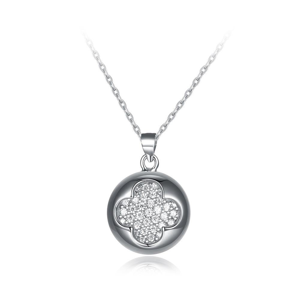 925 Sterling Silver Brilliant Fashion Four-leafed Clover Round Pendant with Cubic Zircon and Necklace - Glamorousky