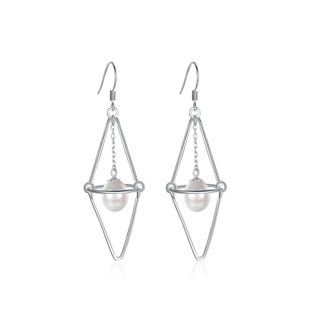 925 Sterling Silver Simple Fashion Geometric Pearl Earrings
