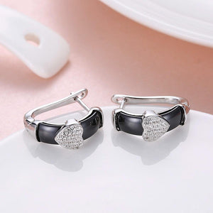 925 Sterling Silver Simple Romantic Heart-shaped Black Ceramic Stud Earrings with Cubic Zircon