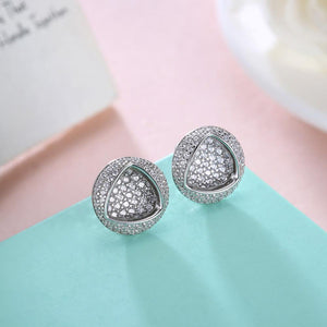 925 Sterling Silver Fashion Bright Geometric Round Cubic Zirconia Stud Earrings - Glamorousky