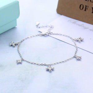 925 Sterling Silver Simple Fashion Geometric Round Cubic Zircon Bracelet