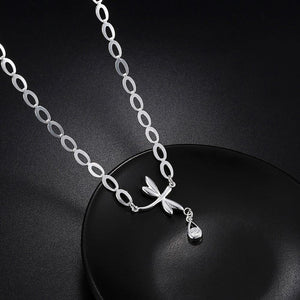 Fashion Simple Dragonfly Water Drop Necklace with Cubic Zircon