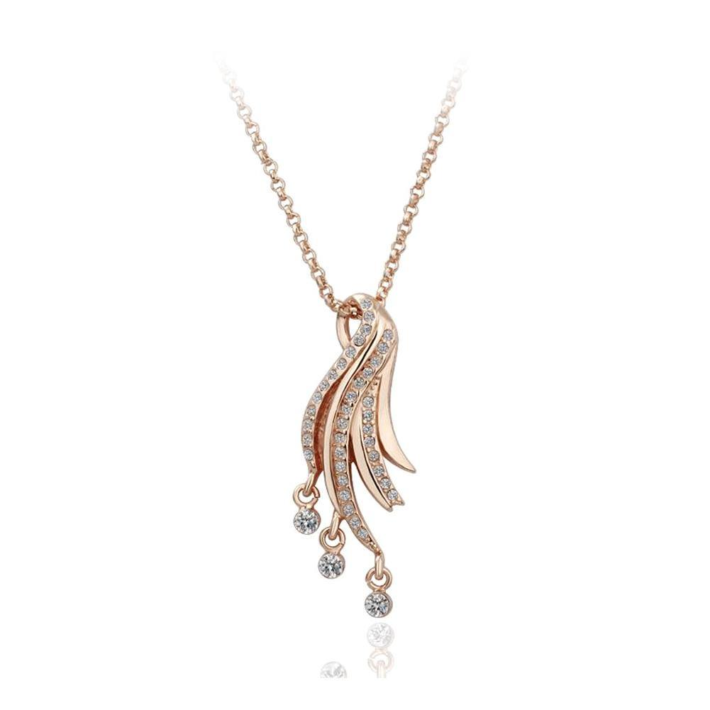Fashion Plated Rose Gold Wing Pendant with Cubic Zircon and Necklace