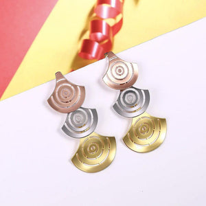 Fashion Exaggerated Plated Gold Hollow Fan-shaped Tri-color Earrings - Glamorousky