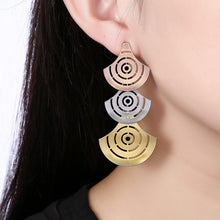 Load image into Gallery viewer, Fashion Exaggerated Plated Gold Hollow Fan-shaped Tri-color Earrings - Glamorousky